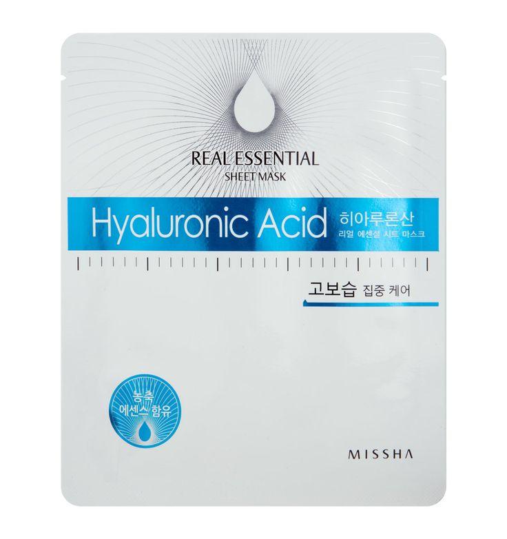 MISSHA Real Essential Sheet Mask 25g Hyaluronic Acid, Anti Aging Effekt