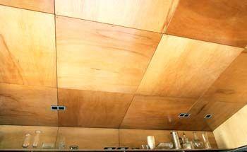 Semigloss-treated plywood ceiling in herringbone_pattern