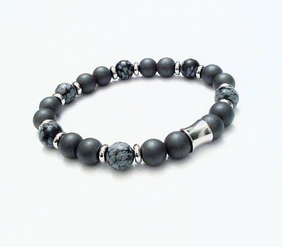 Men Gemstone Bracelet  Men Stainless Bracelet  Hematite Men