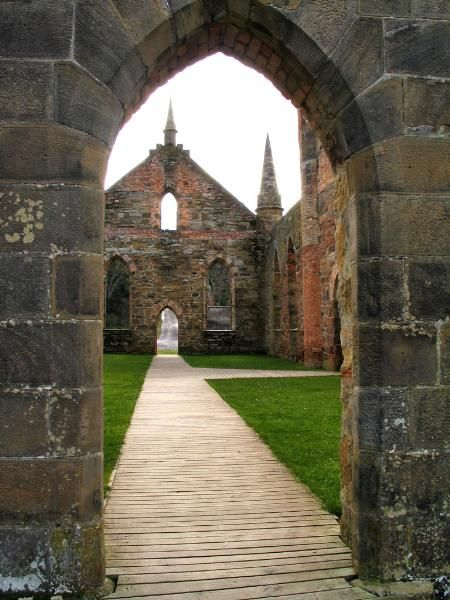 Ruins at Port Arthur, Tasmania. Former convict settlement on the Tasman peninsula