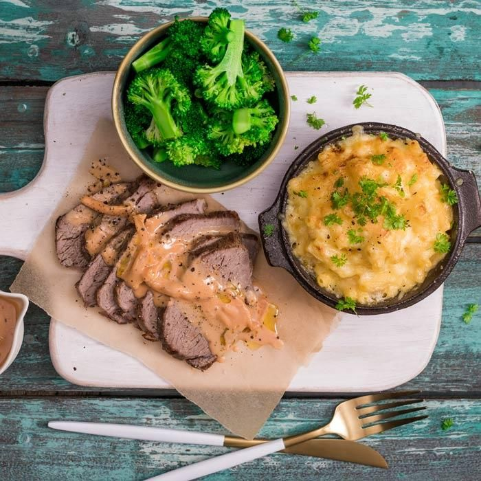 Youfoodz | The Mac Daddy $9.95 | Get yo' fix with slices of tender beef smothered in steak diane sauce, plus a serve of crisp green broc & the hero of them all, cheesy, saucy, drool-worthy cauli mac n' cheese | #Youfoodz #HomeDelivery #YoullNeverEatFrozenAgain