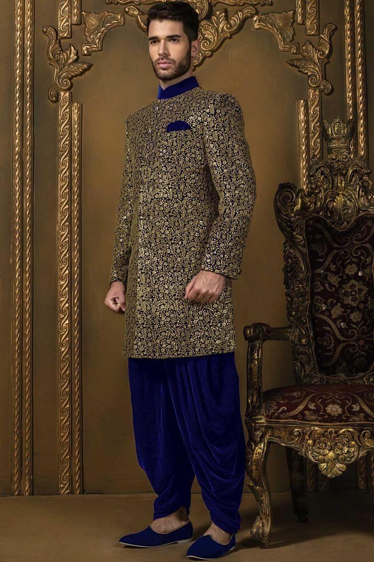 Royal #blue & #gold #velvet mesmerising #jodhpuri bandh gala #sherwani with velvet dhoti pants -IW326