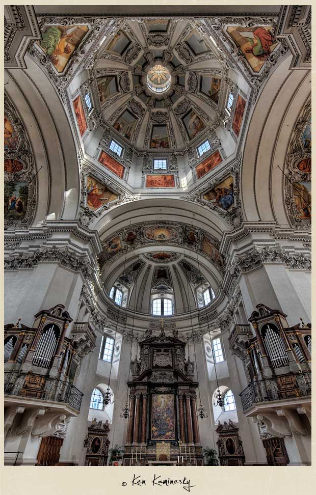 The Spectacular Dome of the Salzburger Dom Cathedral by Ken Kaminesky
