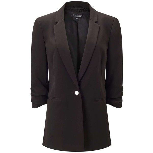Miss Selfridge PETITE Black Ruched Sleeve Blazer ($68) ❤ liked on Polyvore featuring outerwear, jackets, blazers, black, petite, petite jackets, petite blazer, petite blazer jackets, formal jackets and ruched sleeve blazer