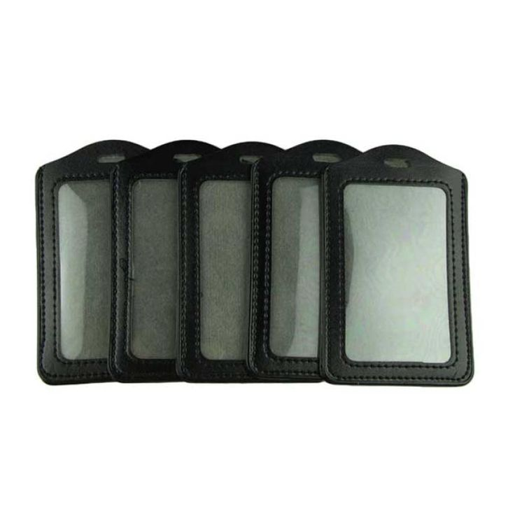 5 pcs/lot Essential Voberry Black PU Leather Business ID Badge Card Holder Vertical (Top Loading) with Slot & Chain Holes