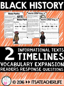 """This is a sample version of the full product. There are two civil rights leaders included in this packet - there are fifteen in the full product. Includes 1 informational passage for Rosa Parks & MLK, Jr., with  vocabulary expansion, meaning I have bolded important words in the passages and placed a """"definition key"""" on the right hand side timeline 2 questions encouraging comprehension and text-to-self relationships Full Product!!BLACK HISTORY MONTH 