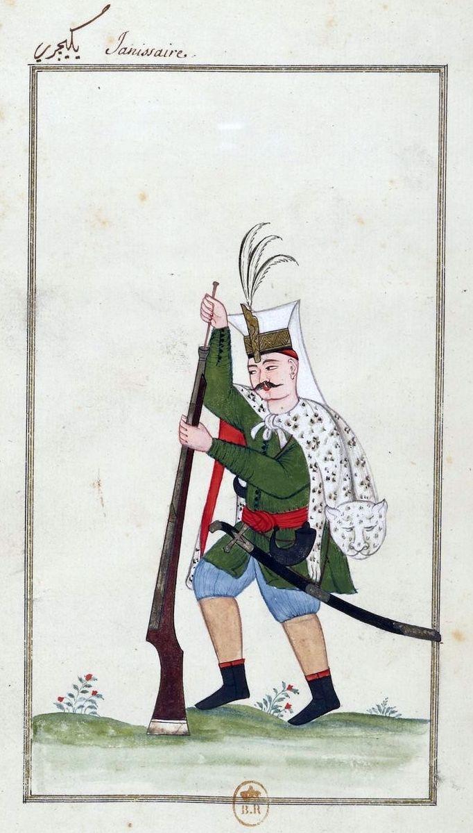 Le Sérail et divers personnages turcs, 1720. Janissaire. Ottoman Janassary loading a rifle.