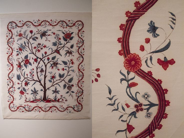 Reproduction of a pampelmore (tree of life), originally included in a quilt. Made with authenthic chintz techniques.