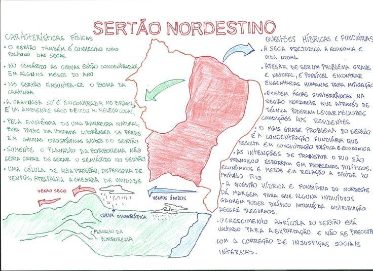 Não tem mistério quando o assunto é Sertão Nordestino. Saiba tudo para arrasar na sua prova de geografia com este mapa mental :)