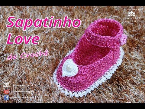 Sapatinho Love de Crochê - DIY Booties Baby - Professora Simone
