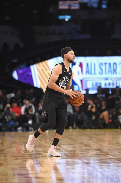 Stephen Curry pushes the ball during the NBA AllStar Game 2018 at Staples Center on February 18 2018 in Los Angeles California