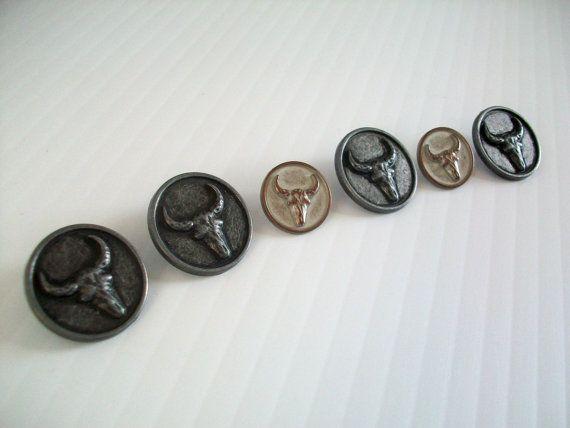 6 Texas longhorn buttons  novelty longhorn buttons  by GTDesigns