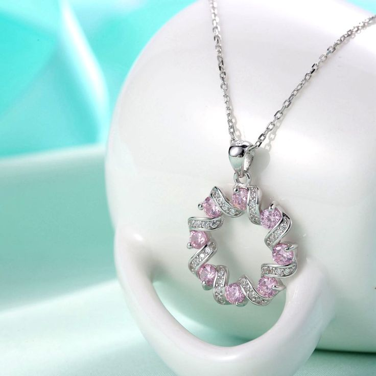 UneJoux Sterling Silver Pendant Necklace Made With Swarovski Elements Zirconia - UneJoux
