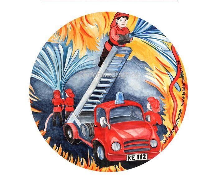 Tortenaufleger Feuerwehr - Kindergeburtstag Feuerwehrtortendeko