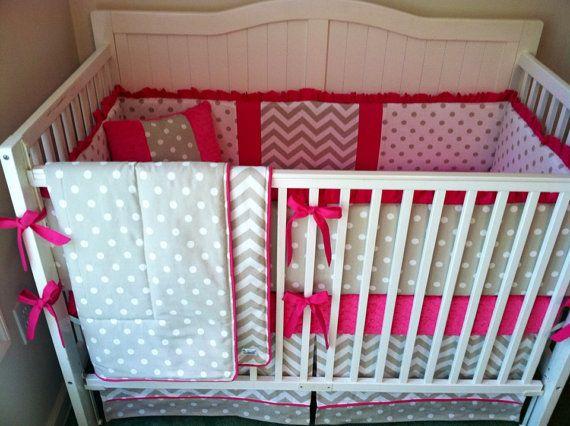 bright pink crib bedding 2