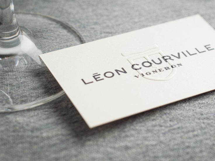 Blind Embossed Business Card For Wine Producer Leon Courville Vigneron By Lg2 Boutique