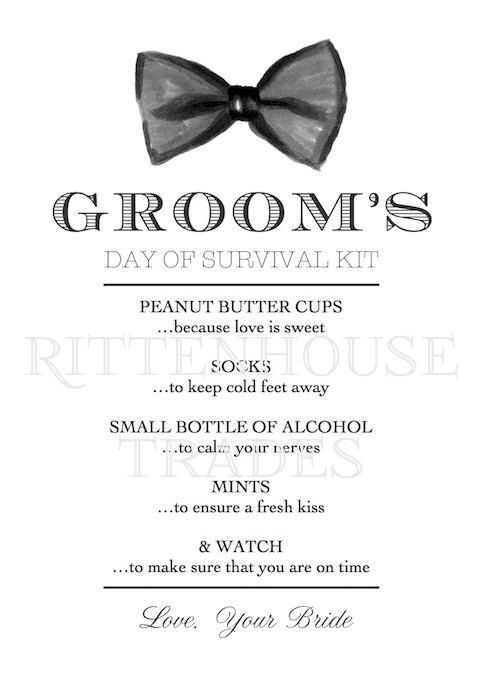 Groom's Day of Survival Kit Printable Card, Instant Download for Wedding Day Gift for Groom - Day of Wedding Survival Kit - DIY Wedding by RittenhouseTrades on Etsy https://www.etsy.com/listing/224019513/grooms-day-of-survival-kit-printable