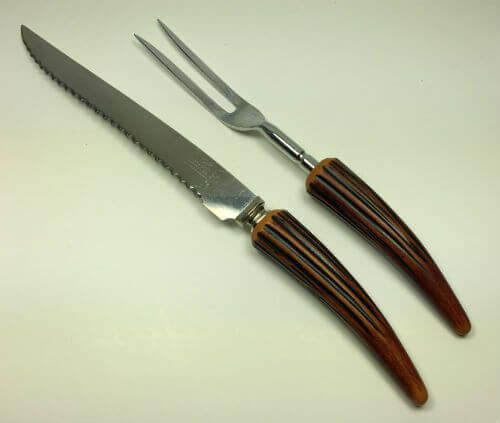 This vintage carving set will bring beauty and function to your holiday table for whatever you are carving.  |  Sheffield Horn-Handled Carving Knife and Fork Set, s/2 Find vintage kitchenware, dinnerware and barware at ShopVintageGrace.com