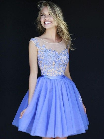 Short/Mini Tulle with Appliques Lace Scoop Neck Sweet Prom Dresses in UK