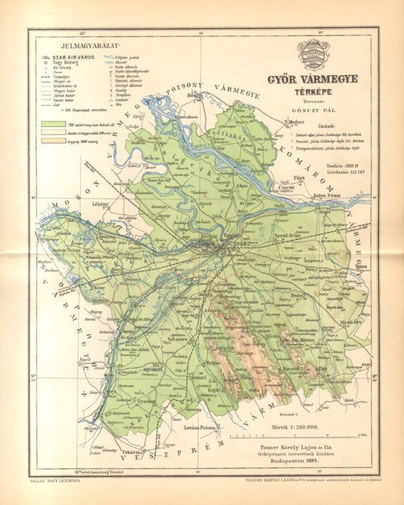 1894 Original Antique Map of Győr County by CabinetOfTreasures