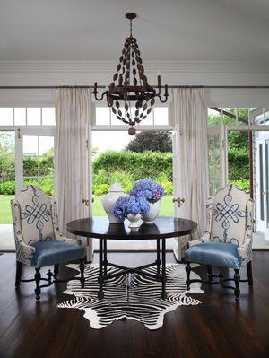 Enduring Trend Alert Cowhide Rugs Dining Room BlueBlack TablesZebra