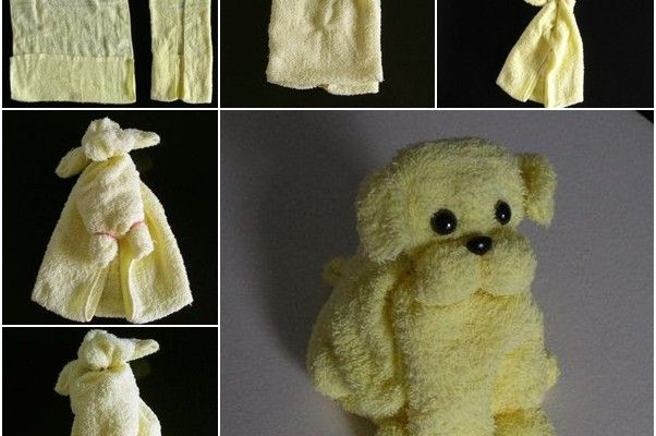It take only minutes to make this cute puppy from towels, esp when kids want something during bath, it's a great project for them to play for fun. Materials you may need: Towels Rubber band Needle and buttons