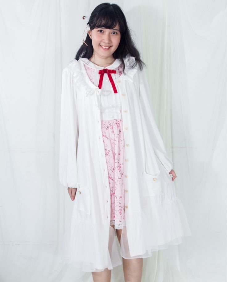 Shop this cute kawaii broken white long cardigan with tulle and lace detail. Perfect for mori girl style. 100% Handmade. Ship worldwide!