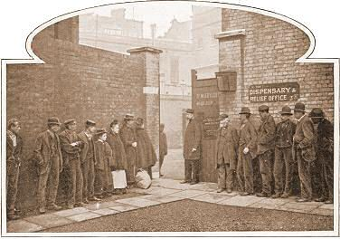 Queuing outside the Workhouse. Some people were only looking for a nights lodgings in the casual ward, (probably hoping to earn enough money for tomorrow's doss when they were released, after completing the work set for them in return for their bed).