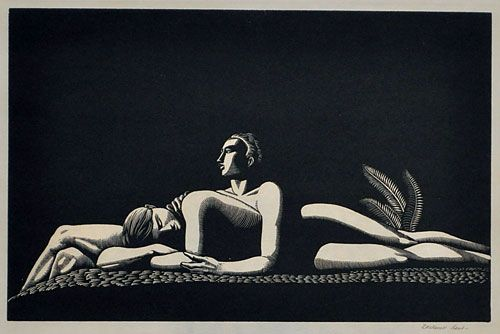 Rockwell Kent (1882-1971). The Lovers. Wood Engraving on Paper, 1928
