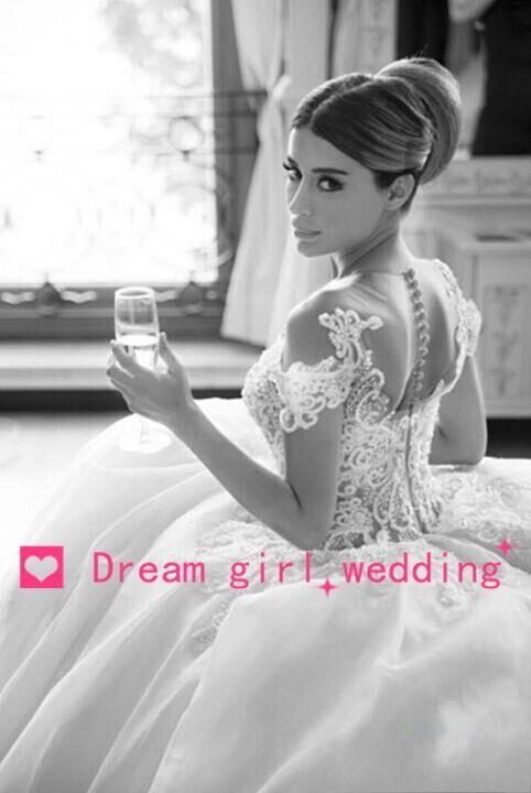 Romantic vestido de noiva Fashion White Ball Gown Sweetheart Tulle Appliqued Top Lace Wedding Dress 2015 Custom Made Elegant