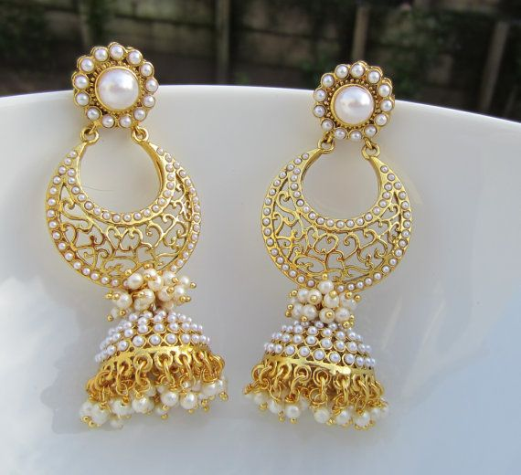 Pearl Chandbali Jhumkas Indian Jewelry Long Pearl by Alankaar, $40.00