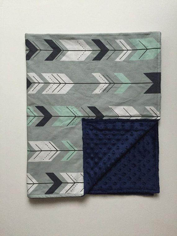 Minky Blanket   Grey Navy White Arrows with Navy by 3LollipopGirls