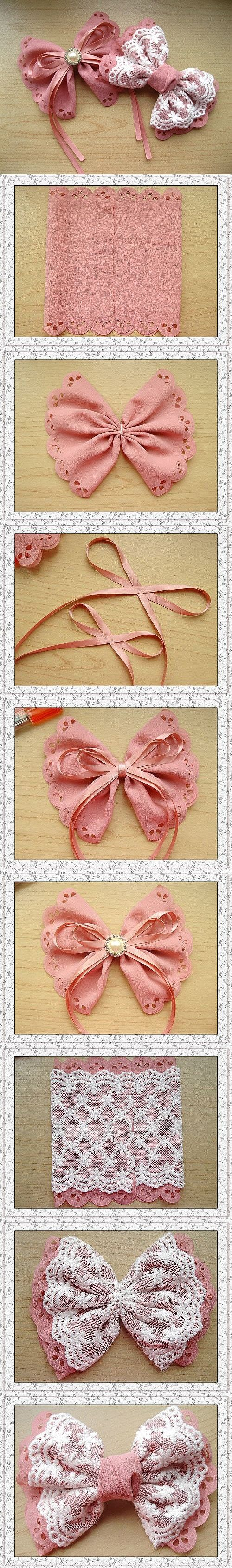 DIY Pretty Bow bow diy sew crafts home made easy crafts craft idea crafts ideas diy ideas diy crafts diy idea do it yourself diy projects diy craft handmade sewing craft bow sewing ideas