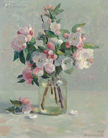 Beautiful pink blossom in a glass jar. Henk Helmantel - 1977
