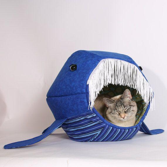 Novelty pet house that looks like a blue whale Cat Ball®