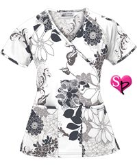UA Classic Prints Flower Harmony White Mock Wrap Scrub Top Style #  WT668FHW