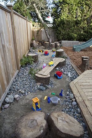 A Dry river bed instead of a traditional sand pit. Large and smaller river rock lining a sand river with tree stumps, ferns and toys