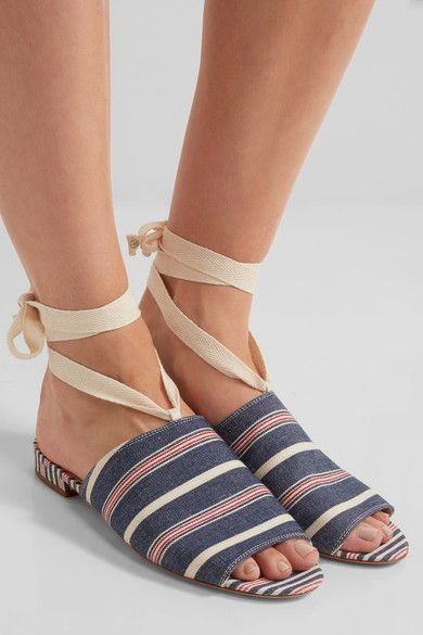 Sam Edelman - Tai Striped Woven Canvas Sandals - Blue - US10.5