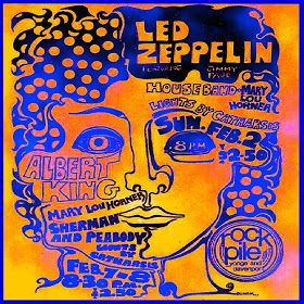 Poster for Led Zeppelin at The Rockpile, Toronto, February 2, 1969 | rock rare collection fetish