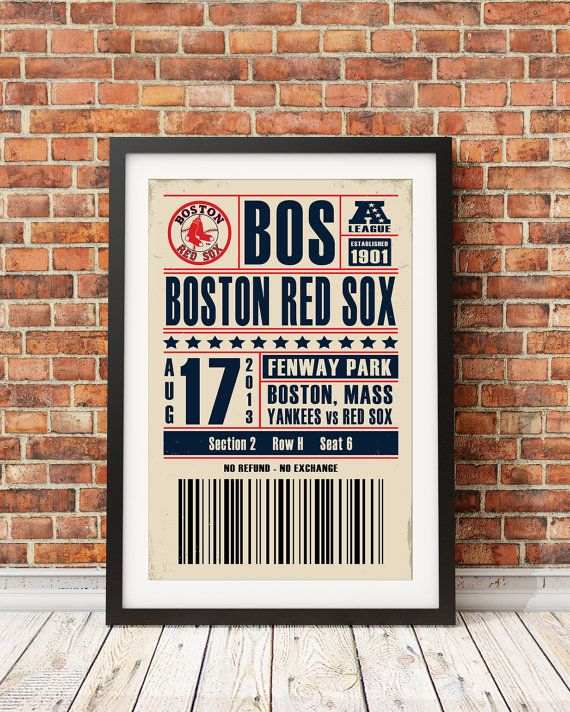 Boston Red Sox Ticket Print by StudioMaxe on Etsy