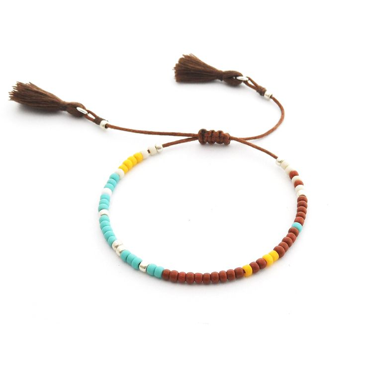 Minimal Bracelet | Brown Boho | Delicate Beaded Bracelet Made Of Seed Beads | Boho Bracelet Tassel | Handmade Jewelry | Toho Beads |