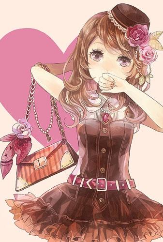 ✮ ANIME ART ✮ clothes. . .cute fashion. . .dress. . .belt. . .purse. . .bag. . .roses. . .flowers. . .curly hair. . .mini hat. . .cute. . .kawaii