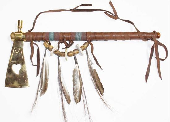 """Large decorative Hatchet Pipe; 18""""  - Native American Arts @ Foutztrade.com  Indian American Hatchet 