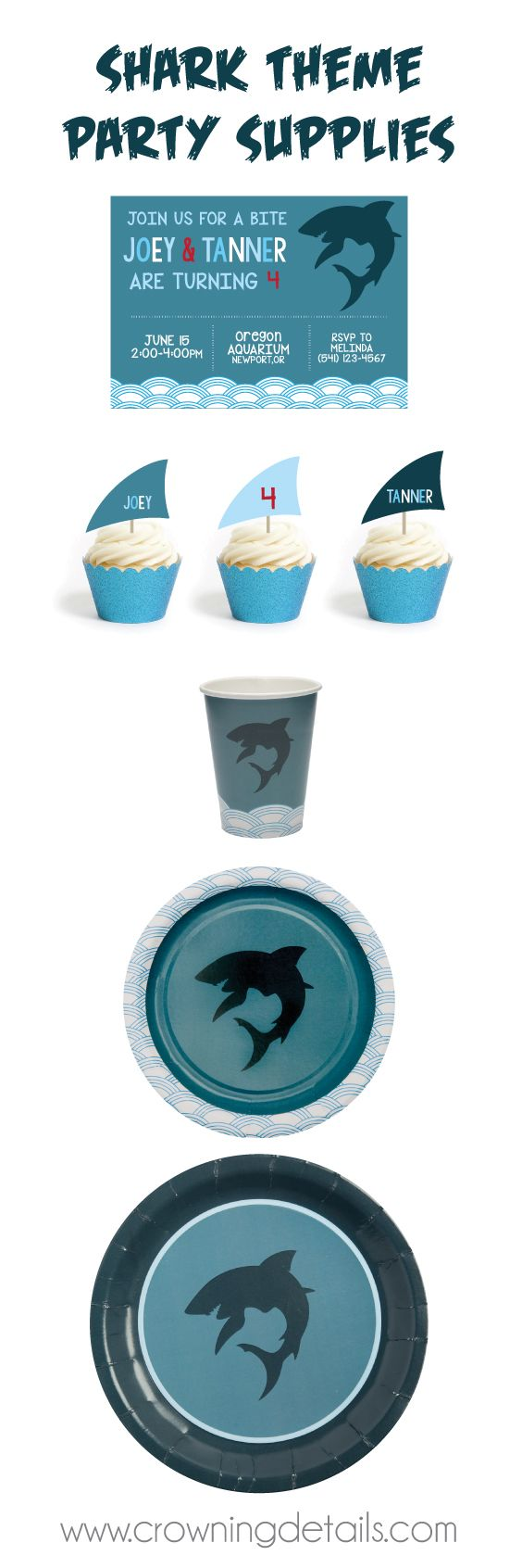 FIN-tastic shark party supplies! Shop this collection in our online store! Shark paper plates, shark paper cups