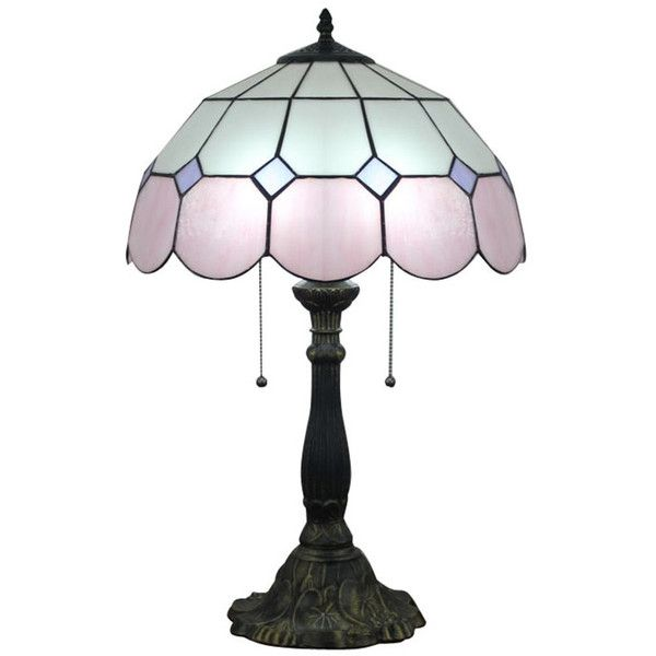 Tiffany Stained Glass Pink Trimmed Mediterranean Style Table Lamp (£120) ❤ liked on Polyvore featuring home, lighting, table lamps, glass shade lamp, mediterranean lighting, pink lamp, pink table lamp and mediterranean lamps