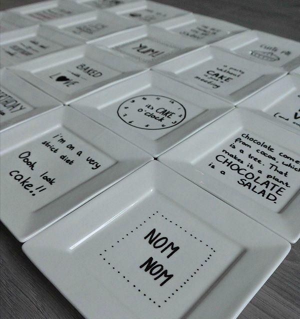 simple thoughts gebaksbordjes versieren, diy creatieve bordjes met leuke teksten