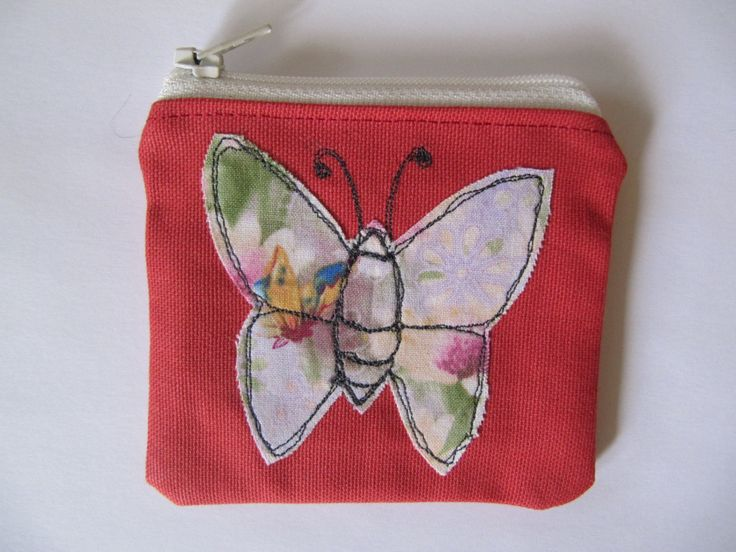 Butterfly Applique Coin Purse, Free Motion Machine Embroidery, Small Makeup Bag, Coin or Makeup Bag, Red, Cream Zip, Lined, Vintage fabric. by BobbyandMeSew on Etsy