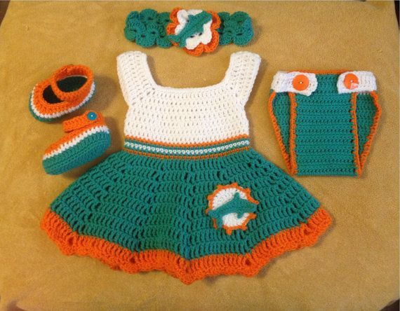 Crochet Baby Dress Crochet football dress set Miami Dolphins