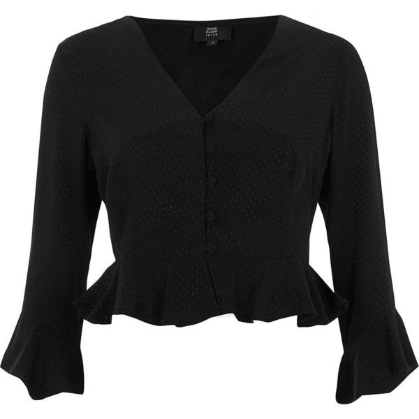River Island Petite black textured polka dot frill blouse (77 CAD) ❤ liked on Polyvore featuring tops, blouses, black, women, petite blouses, ruffle hem top, ruffle blouse, petite tops and frilly blouse