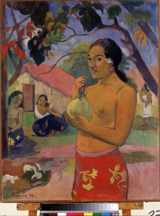 """Eu haere ia oe"" Ou vas tu? (Woman Holding a Fruit. Where Are You Going?) (tahitienne tenant un fruit) Peinture de Paul gauguin (1848-1903). Huile sur toile. Postimpressionnisme. 1893. Dim. 92 x 73 cm Musee de l'Ermitage, Saint Petersbourg (Saint-Petersbourg) ©FineArtImages/Leemage"